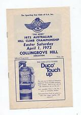 1972 Collingrove Hill Climb Programme Touring Racing Sports Vintage Production