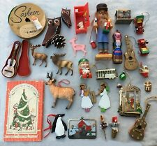 vintage Christmas ornaments junk drawer lot of 30 ornaments plus other items