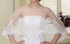 Neuf ! Etole cape châle capeline  mariage soirée en voile et dentelle ivoire C01