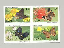 Palau #245a Butterflies & Flowers 1v. imperf proof setenant block of 4