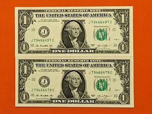 Lot of 2-2013 $1 Dollar notes RADAR J79466497C & BOOKEND J79466479C