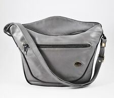 Vintage 1970's GUIDI Messenger Crossbody Bag GRAY LEATHER Avant Garde Tote Italy