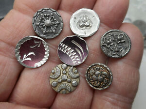 "Lot of 7 Different Pewter Antique Button w/ Enamel and Flowers 5/8"" RS"