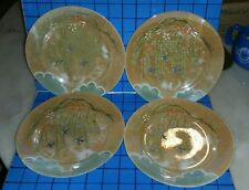 "Set of 4 Hand Painted Birds Japan Lustreware 7 1/2"" Sandwich Bread Plates"