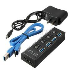 Black 4 Port USB 3.0 Hub On/Off Switches w/ AC Power Adapter Cable for PC Laptop