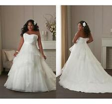 New Lace Strapless Wedding Dress Bridal Gown Custom Plus Size 18-20-22-24-26-28+