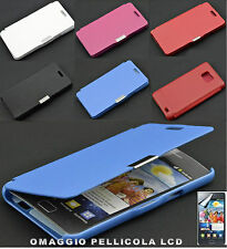 CUSTODIA COVER FLIP CASE A LIBRO PER SAMSUNG i9100 GALAXY S2 IN ECOPELLE PIU OMA