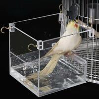 Bird Hanging Bath Cube Bird Bathtub Bath Box Bowl Cage Transparent A9Q4