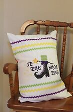 """Halloween Witch If The Shoe Fits Embroidered Pillow Handmade 12"""" x 18"""" REDUCED"""