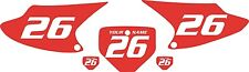 2003-2007 HONDA CRF150F Custom Pre-Printed Red Backgrounds with White Numbers