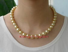 "AAAAA 20""10-11mm NATURAL REAL round South sea golden pearl necklace 14K gold"