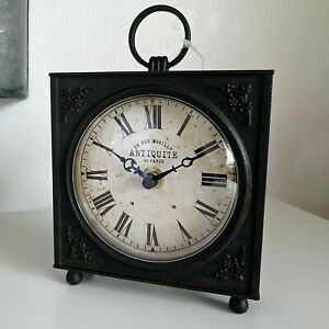 French Vintage Industrial Style 'Murillo' Mantel Table Desk Clock Black
