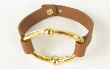 Ralph Lauren Sculptural Oval Brown Leather Button Band Bracelet $48 NEW