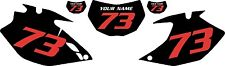 2007-2011 Yamaha WR450F Custom Pre-Printed Black Backgrounds with Red Numbers
