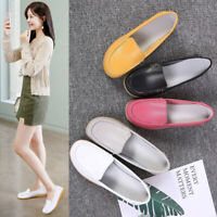 Womens Real Leather Flats Loafers Office Ladies Comfy Casual Slip On Pumps Shoes