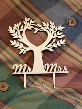 Mr & Mrs Wooden Tree Heart Cake Topper Wedding Accessories - Tree of Life