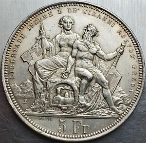 5 Francs Switzerland 1883 Lugano Shooting Festival Top Grade Only 30.000 !!