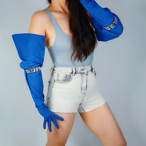 "DENIM GLOVES Blue Jeans 28"" 70cm Extra Long Balloon Puff Big Sleeves Large TECH"