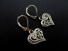 A PAIR OF  TIBETAN SILVER DANGLY HEART LEVERBACK HOOK  EARRINGS. NEW.