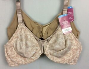 NWT 2 Olga Cushioned Underwire Bras BEIGE & FLORAL Coverage Comfort # 5006