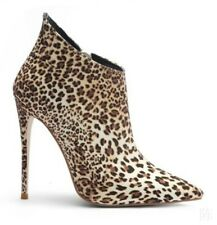 Women's 12cm Slim Heel Boots Pointed Toe Leopard Pattern Ankle Boots Party Sexy