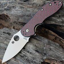 Couteau Spyderco Domino Red Weave Acier CTS XHP Steel Manche Titane SC172CFRDTIP
