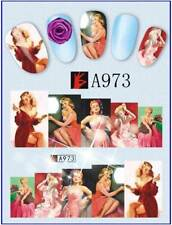 1,03€/Bogen    3 Bogen Nagelsticker Pin Up Girls  Nageldesign Nail Art  A973-975