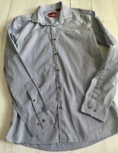HUGO BOSS  Dress Shirt Long Sleeve Slim Fit Stretch Blue Striped Size 15.5-34/35