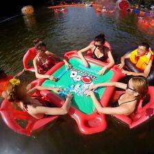 Inflatable Floating Poker Table W/ Chairs Seat Waterproof Poker Lounge Pool Fun
