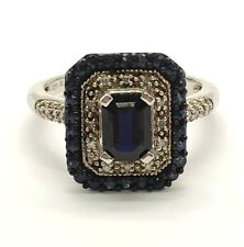 Sterling Silver Oxidized Emerald Blue Sapphire Diamond Halo Cocktail Band Ring 7