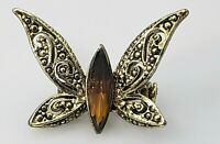 Vintage Amber Topaz Marquise Rhinestone Butterfly Brooch Pin Gold Tone Ornate