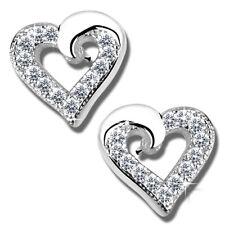 Ohrringe K598 Herz Zirkonia klar Ohrstecker für Mädchen Frauen echt Silber 925