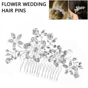 Flower Wedding Bridal Hair Accessories Comb Clips Piece Crystal Diamante Pearls