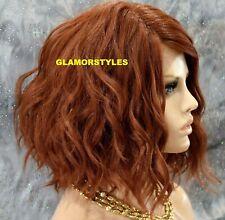 Human Hair Blend Lace Front Full Wig Bob Wavy Layered Light Auburn Hair Piece