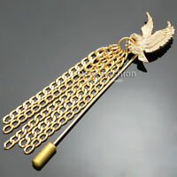 Bird Of Prey Eagle Hawk Tassel Chain Lapel Stick Pin Tie Hat Suit Scarf Brooch