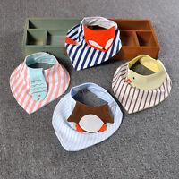 Cute Cartoon Animal Baby Feeding Bibs Triangular Scarf Kids Cotton Saliva Towel