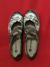 REMONTE WOMENS  BY REIKERS GRAY/IVORY FLOWER PRINT MARY JANES SIZE EU 38