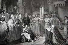 LOUIS VII ORIFLAMME A SAINT DENIS 1147 GRAVURE VERSAILLES 1838 R2623