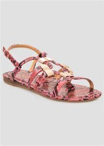 NEW Ashley Stewart Hot Pink Python Snake Print Gold Flat Sandals Shoes 12W Wide