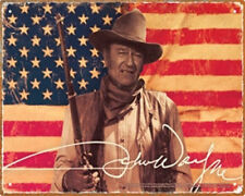 John Wayne American Flag Classic Western Photo Tin Sign Poster, NEW UNUSED
