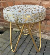 Genuine Hair on Leather Cowhide Stool - White & Gold Seat - Gold Iron Legs