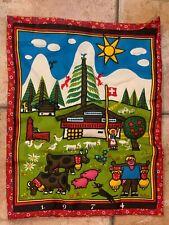 TRAPUNTO LINEN 1974 SWITZERLAND FARMHOUSE BARNYARD HUSBAND WIFE ANIMALS WLL ART