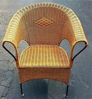 Vintage Wrought Iron Wicker and Rattan Roll Arm Armchair