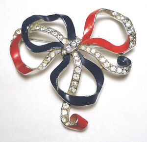 40's Patriotic ALFRED PHILIPPE Red/Blue CROWN TRIFARI Crystal ENAMEL BOW PIN