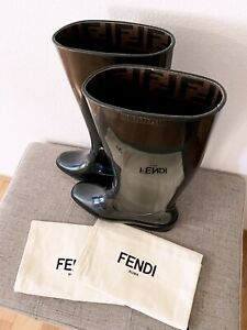 Fendi Black Patent Knee High Rain Boots 38