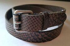 GUESS Men Belt Genuine Leather Snake Embossed Signature Logo Buckle Sz 32