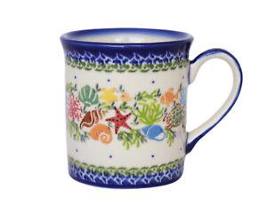 Polish Pottery Stoneware 9oz UNIKAT Mug  (306-u575a) Kalich Ocean Nautical Fish
