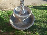 Cast Stone Garden/Pond Ornament. 2 Tier Outdoor Water Fountain