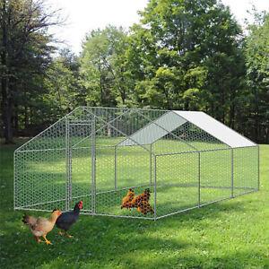 10ftx10ft/20ft Metal Chicken Run Pen Walk-in Cage Poultry Coop Duck Rabbit House