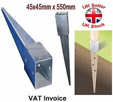 """Galvanised Ground """"Drive-in"""" Square Post Support Holder Size: 45x45mm x 550mm"""